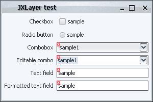Validation overlay, JXLayer