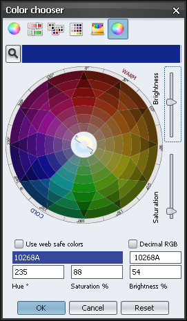 Color chooser Xoetrope color wheel - decreased brightness
