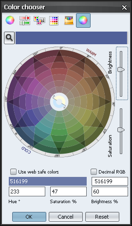 Color chooser Xoetrope color wheel - decreased saturation