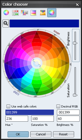 Color chooser Xoetrope color wheel - default